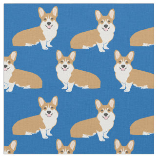 Corgi fabric - blue corgi fabric design