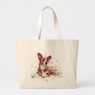 Corgi & Feather Art series Large Tote Bag