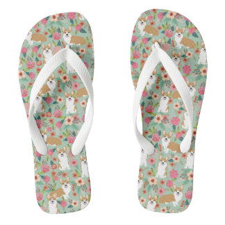 Corgi Floral Flip Flops - mint