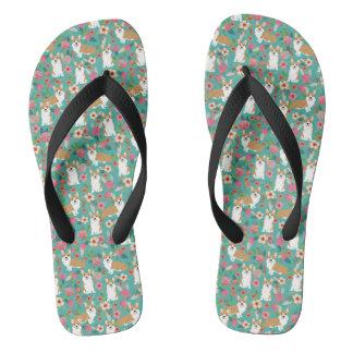 Corgi Floral Flip Flops - turquoise