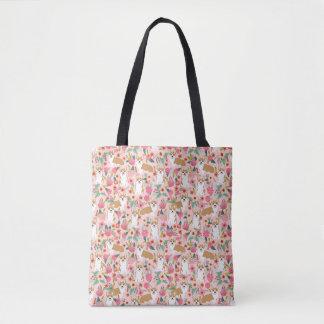 Corgi floral tote - pink