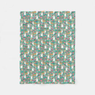 Corgi florals blanket - turquoise
