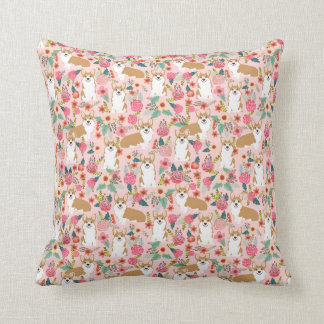 Corgi Florals pillow - pink