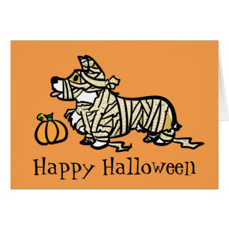Corgi Halloween- Mummy Card