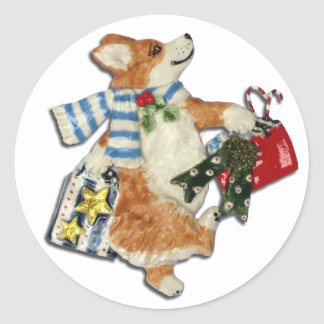 Corgi Holiday Shopper Classic Round Sticker