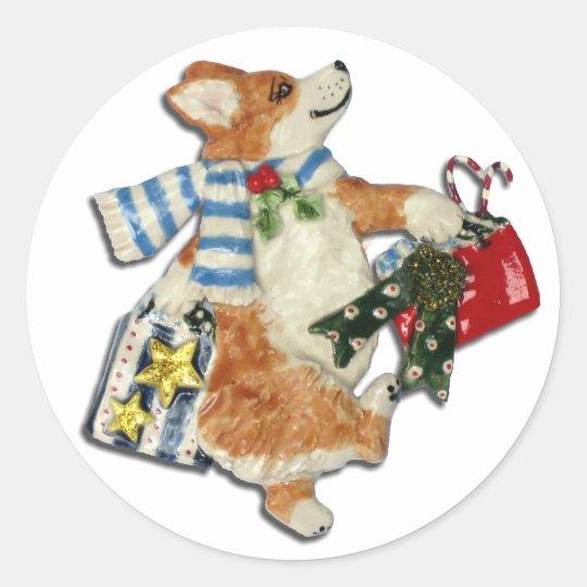 Corgi Holiday Shopper Classic Round Sticker