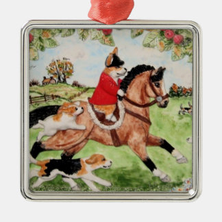 Corgi Huntsman Rides to Hounds Ornament