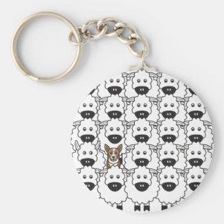 Corgi in the Sheep Key Ring