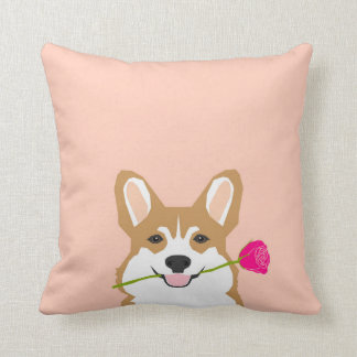 Corgi Love with Pink Rose for Valentines Day Gift Cushion