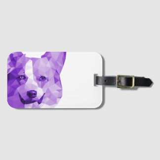 Corgi Low Poly Art in Purple Bag Tag
