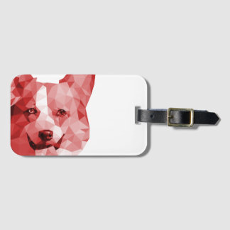 Corgi Low Poly Art in Red Luggage Tag
