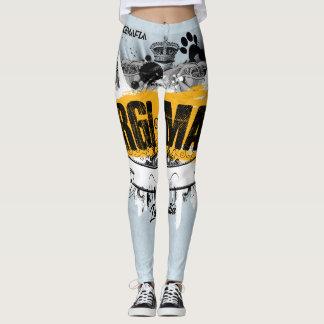 Corgi Mafia Banner Black & Yellow Leggings