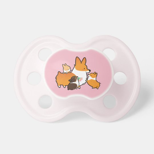 Corgi Mama and Babies Pink Pacifier