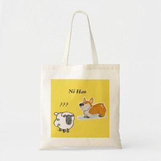 corgi meet a irish sheep tote bag