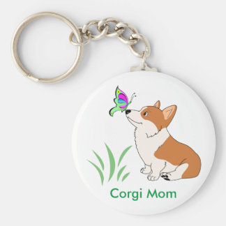 Corgi Mom with Butterfly Key Ring