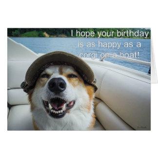Corgi on a boat birthday card