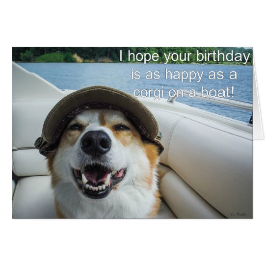 Corgi on a boat birthday card