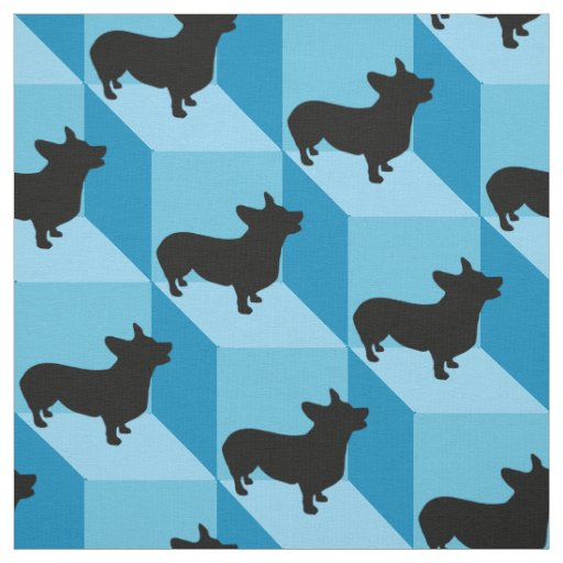 Corgi on Blue Cubes Fabric