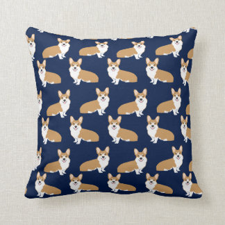 Corgi Pattern pillow - cute corgi pillow navy