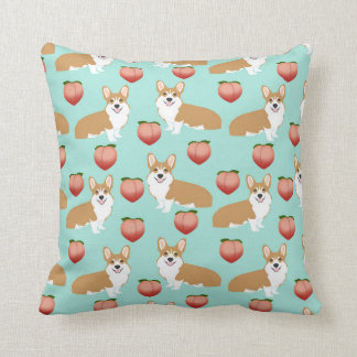 Corgi Peach Emoji pillow - mint