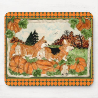 Corgi Pumpkin Patch Mousepad