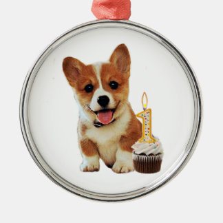 Corgi puppy and first birthday cupcake christmas ornament