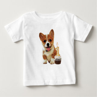 Corgi puppy and one candle baby T-Shirt