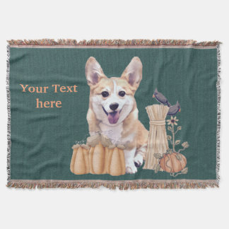 Corgi Puppy in Autumn Throw Blanket