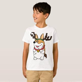 Corgi Reindeer Kids Hanes T-Shirt