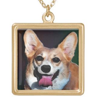 Corgi Satisfied Grin Square Pendant Necklace