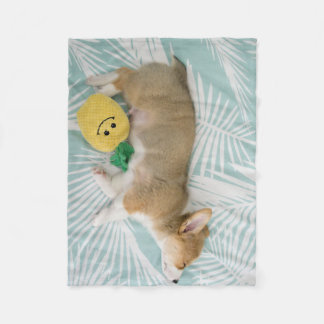 corgi snuggles fleece blanket