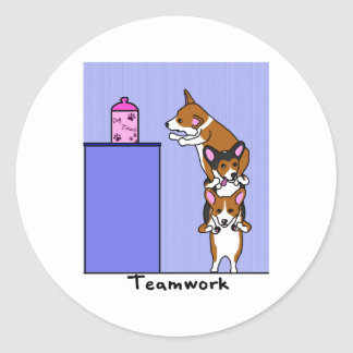 Corgi Teamwork Classic Round Sticker