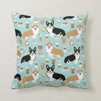 Corgi Throw pillow - coffee tricolored cardigan