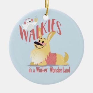Corgi Walkies in a Winter Wonderland ornament