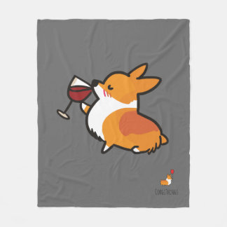 Corgi Wine Fleece Blanket