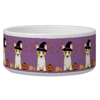Corgi Witch Halloween Dog Bowl