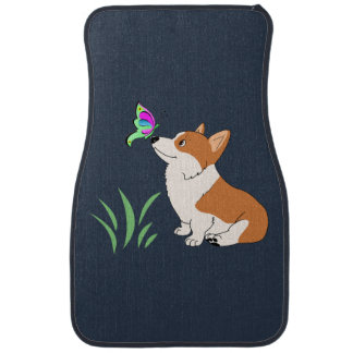 Corgi with Butterfly Car Mat