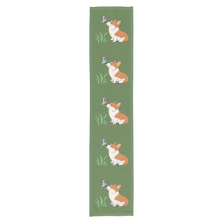 Corgi with Butterfly Short Table Runner