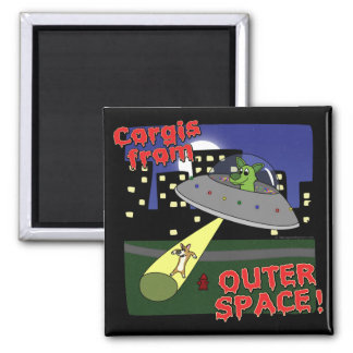 Corgis from Outer Space Square Magnet