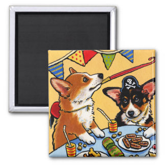 Corgis Party Dog Square Magnet