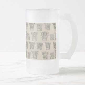 Corinthian and Composite Capitals Frosted Glass Mug