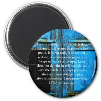 Corinthians 13:4-8 BIBLE VERSE ABOUT LOVE 6 Cm Round Magnet