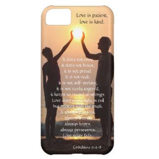 Corinthians Love is Patient hands holding sun Case For iPhone 5C