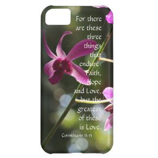 Corinthians Verse Love Endures Floal Pink Orchid Case For iPhone 5C