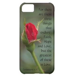 Corinthians Verse Love Endures Floral Red Rose iPhone 5C Cases