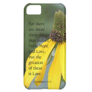 Corinthians Verse Love Endures Yellow Wildflower iPhone 5C Cases
