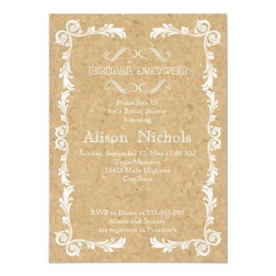 Cork and vintage frame wedding bridal shower card