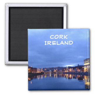 Cork at Night, Ireland Square Magnet