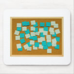 Cork board with sticky notes mouse pads