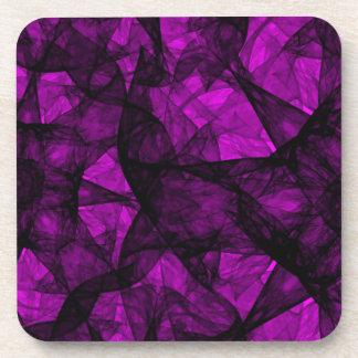 Cork Coaster fractal art black and pink